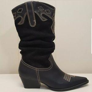 Rampage 6M Black Cowboy Horse Boots Leather RODINA